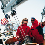 Circe Sailing with client at the helm